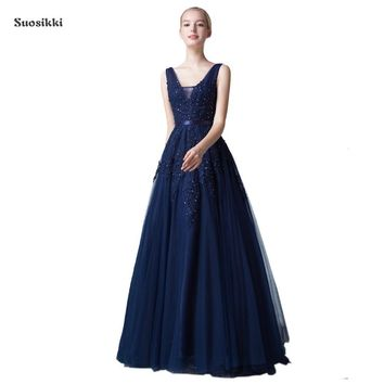 Sexy Backless Long Evening Dress Vestido de Festa A-line appliques beading gown V-neck dress robe de soiree Party Prom Dress