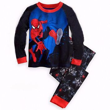 2-6Y Boys Clothing Tracksuit O-Neck Cosplay Pajamas Superman Batman Captain Spiderman Iron Man Transformer Sets Summer 19