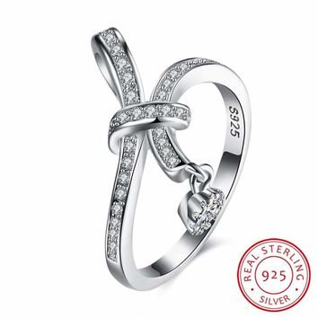 925 Sterling Silver Ribbon CZ Ring