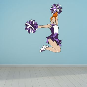 Wall Art Cheerleader Pom Poms Wall Decals Removable Repositionable Fathead style