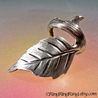Rose leaf silver ear cuff earring jewelry - Thorn earcuff clip for men and women 080212