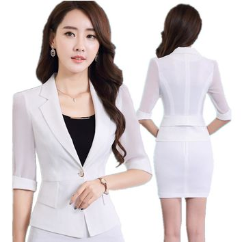 Fmasuth Women Summer Business Suit Elegant 2 Pcs Half Sleeve Blazer and OL Skirt Work Uniform For Ladies Suits ow0338