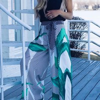 White Floral Bow Elastic Waist High Waisted Wide Leg Long Pants