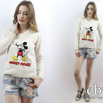 Vintage Disney Sweater Vintage Mickey Mouse Sweater Mickey Sweater White Sweater 70s Sweater 1970s Sweater Vintage 70s Mickey Sweater XS S