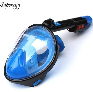 2018 New Snorkel Mask for Swimming Underwater Radiation Protection Anti-fog Anti-spill Full Face Diving Mask for GoPro Camera