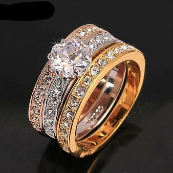 Majestic CZ Diamond Paved Wedding Bands 3 Rings Set Rose Gold Color