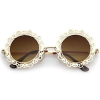 Women's Indie Round Laser Cut Lace Pattern Sunglasses C098