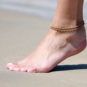 Beige Anklet - Multistrand Ankle Bracelet - Gold Anklet - Foot Jewelry - Foot Bracelet - Chain Anklet - Summer Jewelry - Beach Jewelry