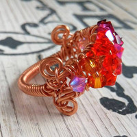 Ombre Crystal Copper Wire Wrap Ring, ombre ring, crystal ring, organic ring, boho ring, Bohemian Jewelry