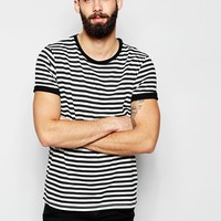 ASOS T-Shirt With Stripe And Roll Sleeve