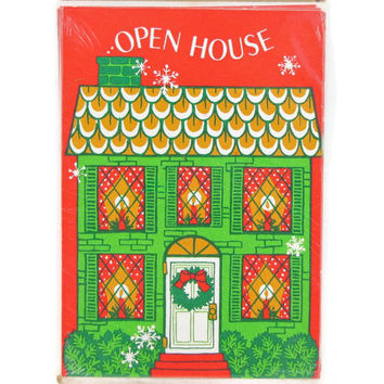 Holiday Invites - Vintage Christmas Open House Party Invitations, 1970s  Hallmark Cards, Sealed Pack of 8, New Old Stock, 56 Available