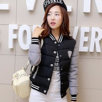 Echoine 2017 Winter New Women Coat Thick Warm Fashion Cute Full Sleeve Baseball Clothes Women Outwear Jackets