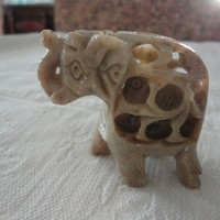 Vintage Soapstone Carved Elephant Figurine With Baby Inside