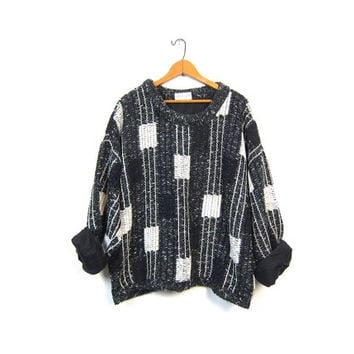 Allen Wah Chunky Knit Sweater 80s Graphic Black & White Oversize Chenille Slouchy Minimal Lambswool Geometric Modern Loose Fit Vintage Large