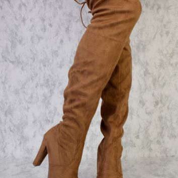 Tan Round Pointy Toe Single Sole High Heel Thigh High Boots Faux Suede