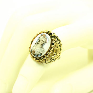 Adjustable Ring Vintage Victorian Cameo Style Filigree with Portrait of a Woman