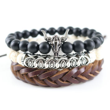 Gun Black Unisex Onyx Stones Beaded Handmade Brown Genuine Leather Wrap Bracelets