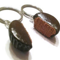 Peanut Butter Cup Halves BFF Key Chains. Polymer Clay, Best Friends Food
