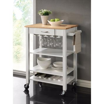 Transitional Rubberwood Kitchen Cart, White And Brown By Coaster