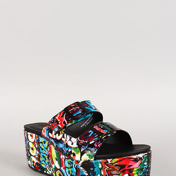 Dollhouse Graffiti Two Strap Open Toe Flatform Sandal
