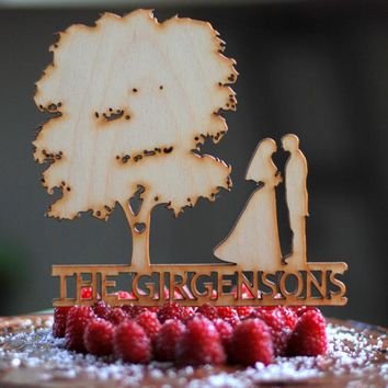 1pcs 20x16cm Wooden Personalized Custom Wedding Cake Topper