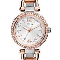 Women's Fossil 'Georgia' Crystal Bezel Two-Tone Bangle Watch, 26mm