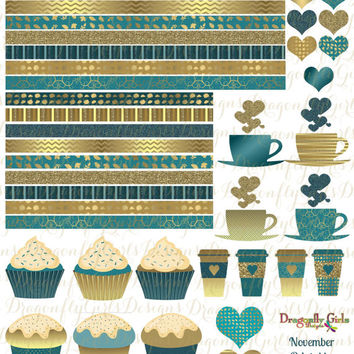 November Teal and Gold Printable Planner 48 Stickers Sheet 4 of Kit  in PDF and jpeg Erin Condren Life Planner Kikkik Filofax