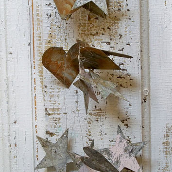 Metal rusty hearts and stars garland shabby chic vignette rustic wedding decoration home decor Anita Spero