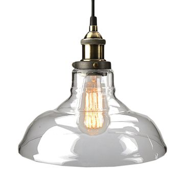 Vintage Clear Glass Pendant Light Copper Hanging Lamps
