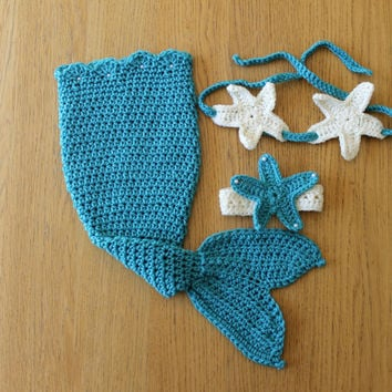 Blue Jeweled Pearl Baby Crochet Mermaid Set. Baby Mermaid Photo Prop Outfit/Costume