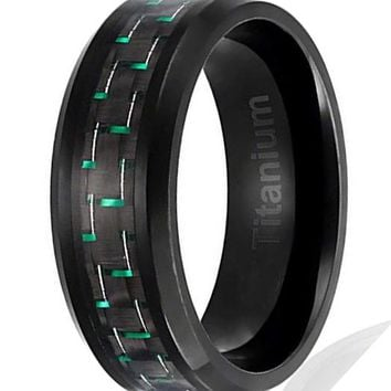 CERTIFIED 8MM Men's Titanium Black Plated Black and Green Carbon Fiber Inlay