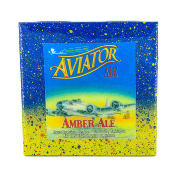 Aviator Amber Ale - Handmade Recycled Tile Coaster