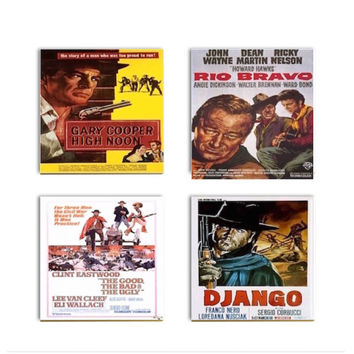 Western Movie Coasters Classic Movie Ceramic Drink Tile Coasters John Wayne Good Bad Ugly High Noon Sublimated Art Tiles Set Four Media Room