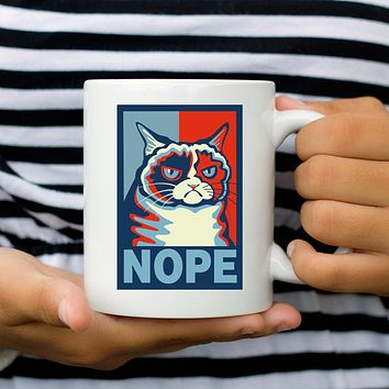 "Grumpy Cat Says ""Nope"" Coffee Mug - Humor Cat Mugs - Cat Lover Gift"