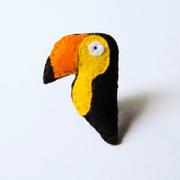Felt toucan brooch, yellow, black, orange