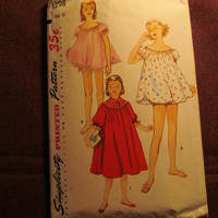 Sale Complete 1950's Simplicity Sewing Pattern, 1398! Size 12 Girls/Pre-Teen/Child's/Night Gowns/Panties/Mother & Daughter Fashion/Pajamas/2