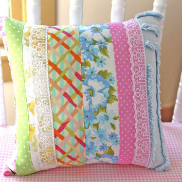 Striped Pillow - Chenille Pillow - Floral Fabric Pillow - Shabby Chic Pillow - Nursery Pillow - Cottage Chic Pillow Cushion - Nursery Decor