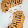 Lace Up Wedges in Camel