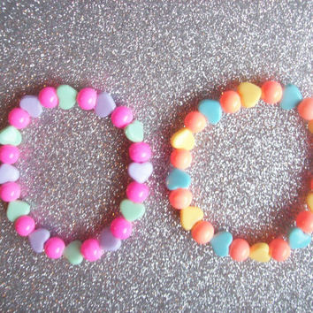 Candy Carnival - Pastel Hearts and Gumball Bead Stretch Bracelets - Set of 2