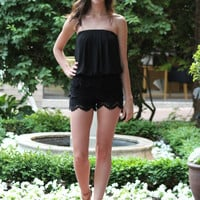Strapless Lace Romper, Black