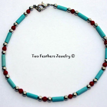 Turquoise And Coral Beaded Anklet - Native American Inspired - Beaded Jewelry - Southwestern Style - Gift For Her - Ankle Bracelet