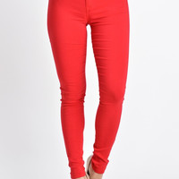 High Waist Red Skinny Jeans