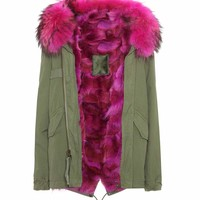 Mini fur-lined cotton parka