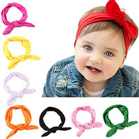 Hip Mall® 8pcs Baby Girls Toddler Bow Headbands Turban Knot Rabbit Hairband Headwear