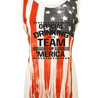 Official drinking team of America Women's Shredded Us Flag Tanktop