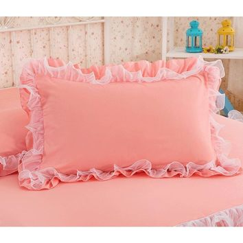 2pcs Solid Color Pillowcase Handmade Ruffle Wrinkle Pillow Cover Textile Home Bedding Decorative Pillowcase with Lace for Girl