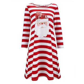 Winter Women Striped Printed Christmas Dress Santa Claus Long Sleeve Xmas Female Casual Party Dresses Vestidos S-2XL