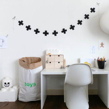 Black felt cross garland