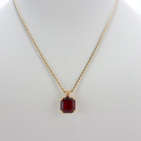 Garnet Necklace Avon January Birthstone Birthday Gemstone Gold Necklace Jewelry