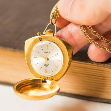 Vintage watch necklace, gold plated watch pendant, trigonal case watch necklace, Soviet women's jewelry watch unique gift, white face watch